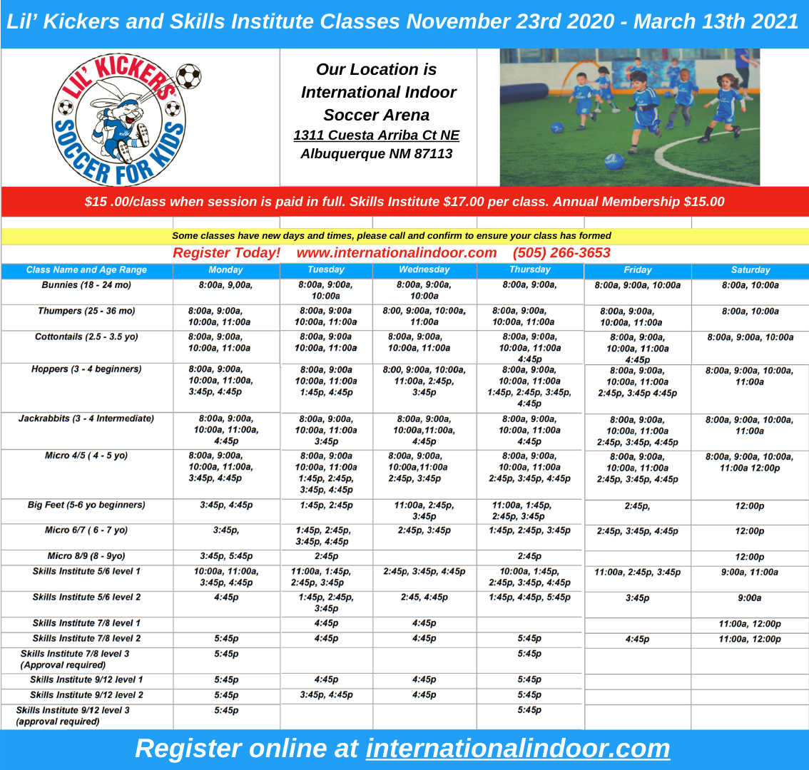 Lil Kickers schedule for winter 2020-2021